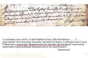 1693 baptême à Braise